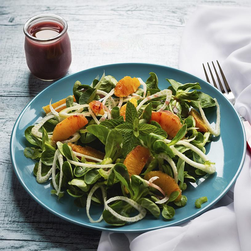 Receta de Ensalada de Canónigos y Naranja con Vinagreta de Frambuesa