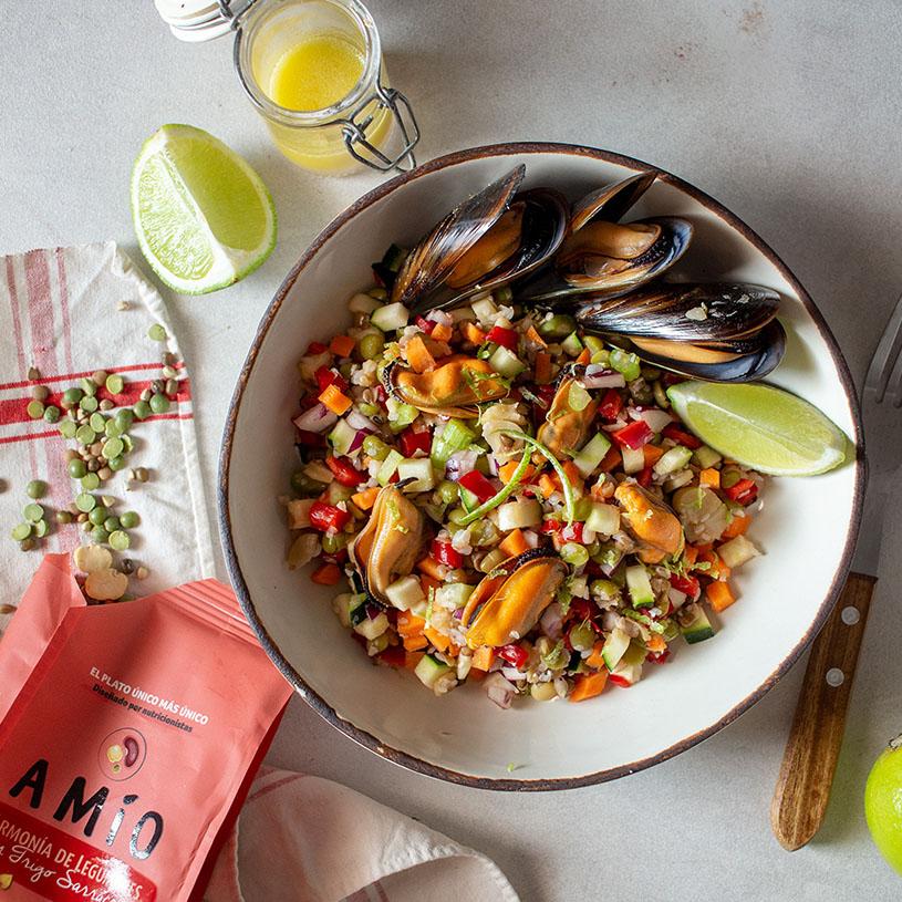 Receta de Ensalada de Amio, verduras y mejillones