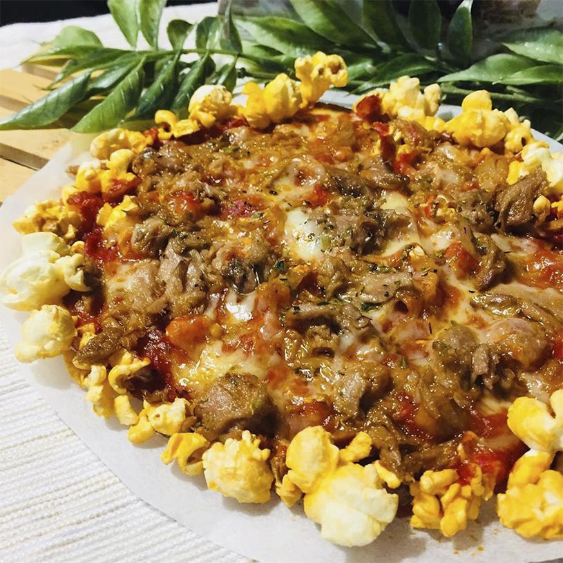 Receta de Pizza de Atún con base de Palomitas sabor Barbacoa