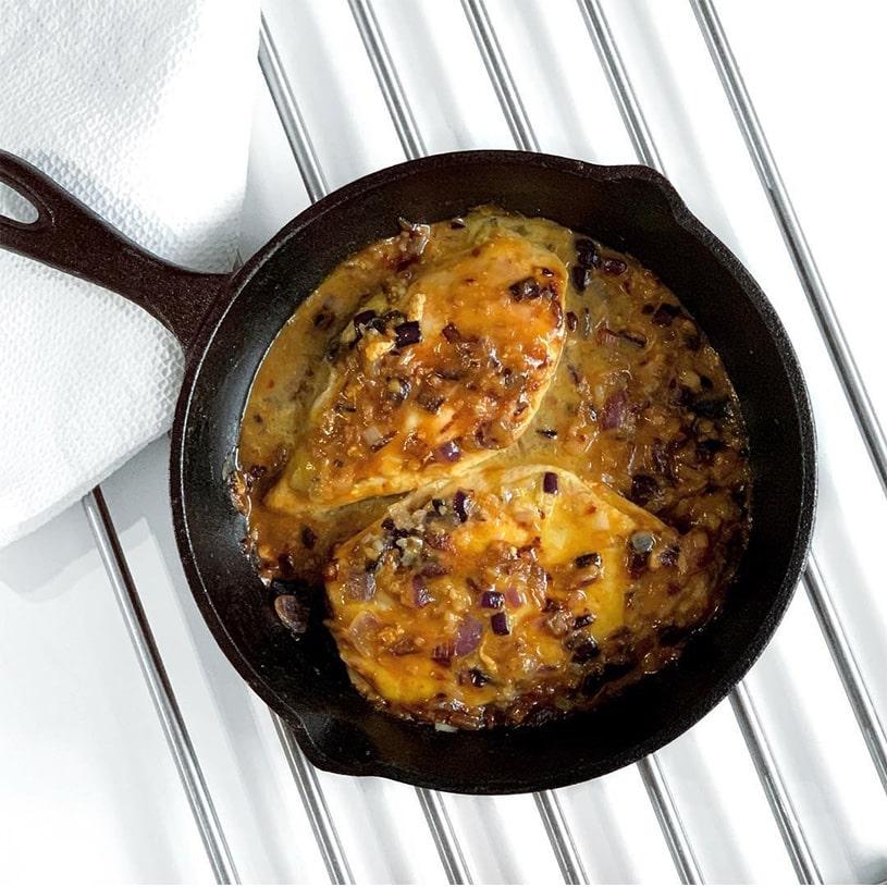 Receta de Pechugas con salsa de Mostaza, Miel y Naranja