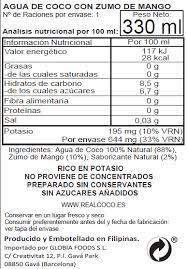 agua de coco mango etiqueta