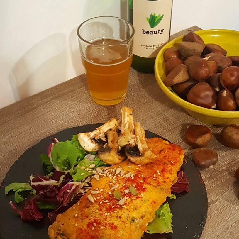 Pollo con rebozado saludable de cerveza y pimenton