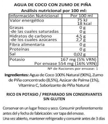 Agua de Coco con Piña de Real Coco etiqueta