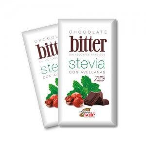 Chocolate negro con avellanas bitter con Stevia