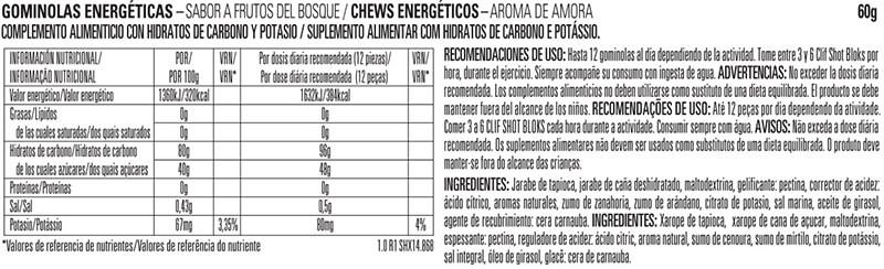 Clif Blocks gominolas energéticas 60gr etiqueta