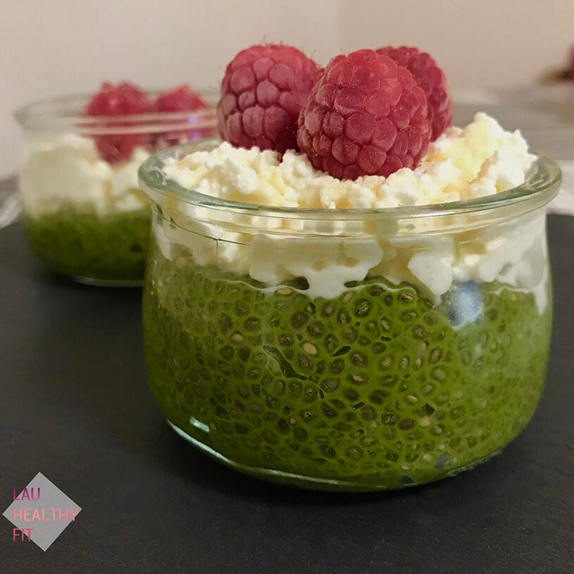 Pudding de chía y matcha con requesón 2