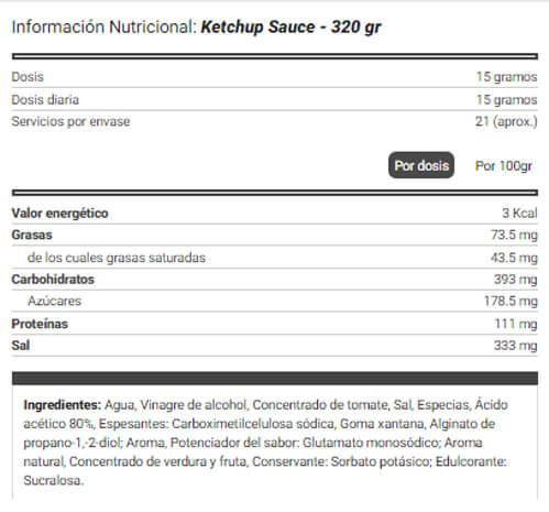 Salsa Ketchup Natural Zero etiqueta