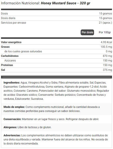Salsa Mostaza y Miel Natural Zero etiqueta