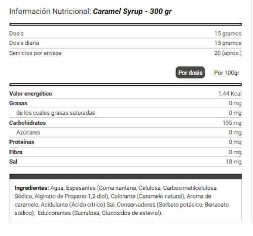 Sirope de Caramelo Natural Zero etiqueta