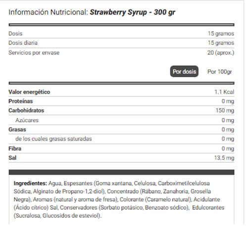 Sirope de Fresa Natural Zero etiqueta
