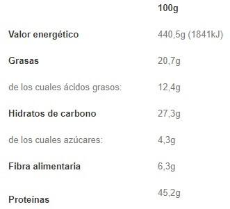 Protein Crunch Blanco 500gr etiqueta