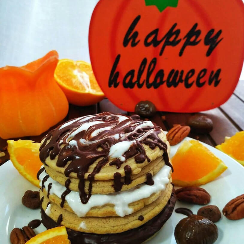 Happy Halloween Pancakes con sabor a naranja