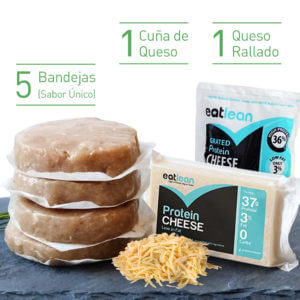 Pack 5 Burgers FIT único sabor + 1 cuña de queso + 1 queso rallado