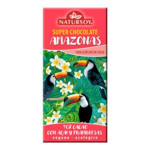 Chocolate Amazonas con açai y frambuesas 100gr