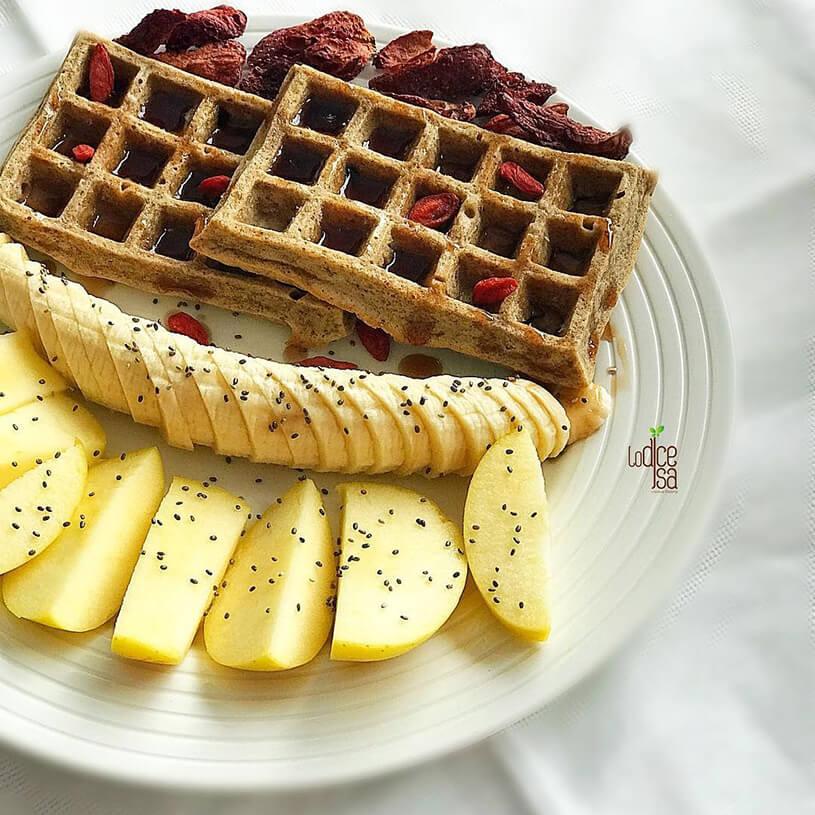 Receta de Gofres saludables con sirope de arándanos