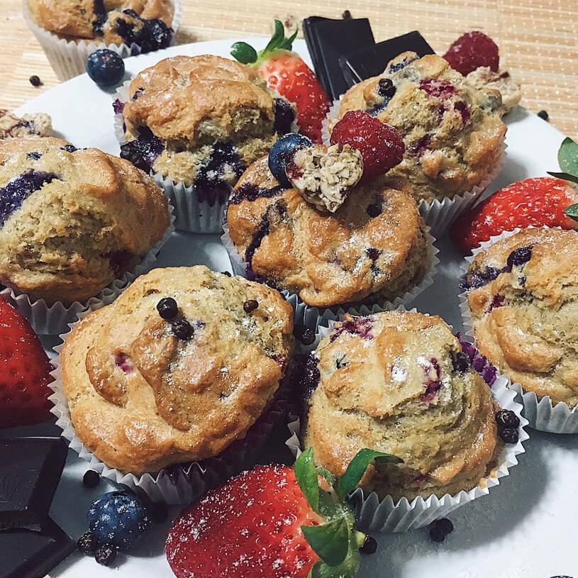 Receta de Muffins de arándanos y frambuesas