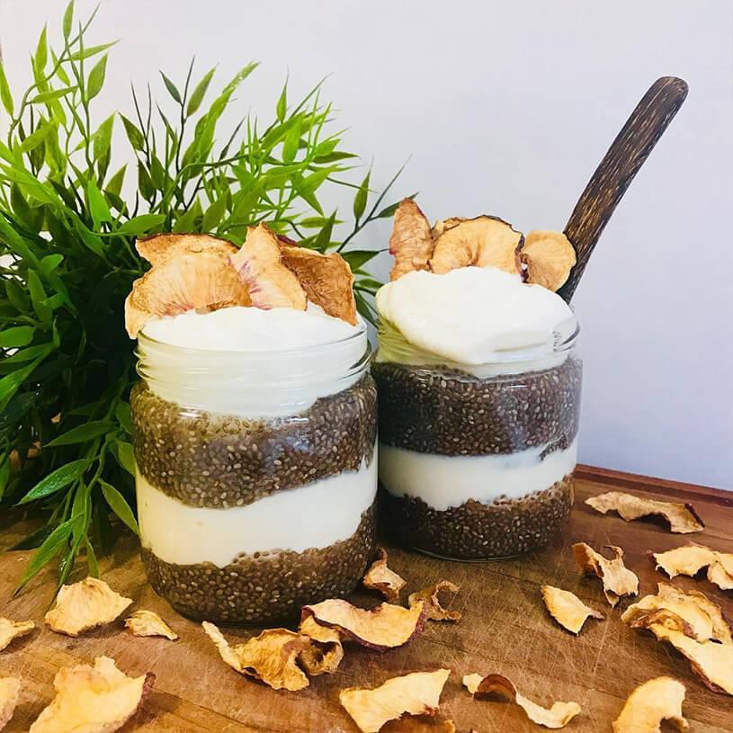 Receta de Pudding de chía y melocotón