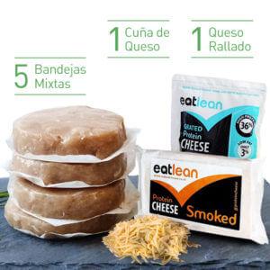 Pack 5 Burgers FIT mixtas + 1 cuña de queso ahumado + 1 queso rallado