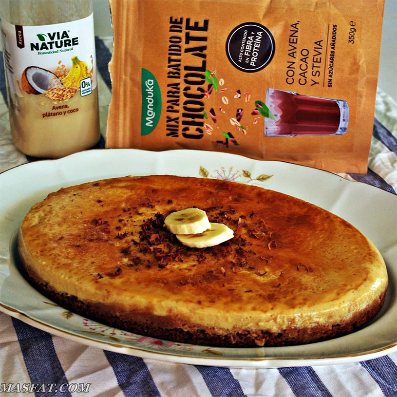 Receta de Bizcocho de Chocolate y Flan de Plátano