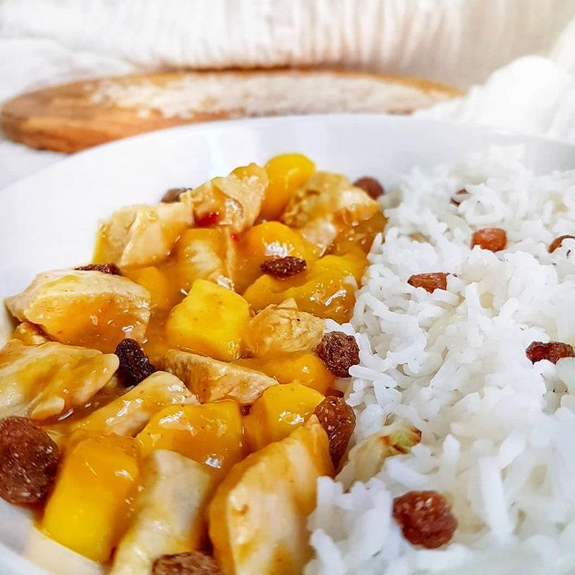 Receta de Arroz basmati con pollo en salsa de mango