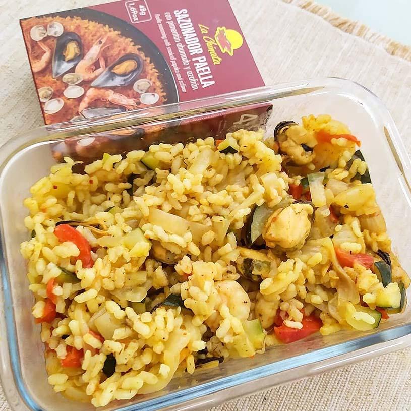 Receta de Arroz con verduras, gambas y mejillones