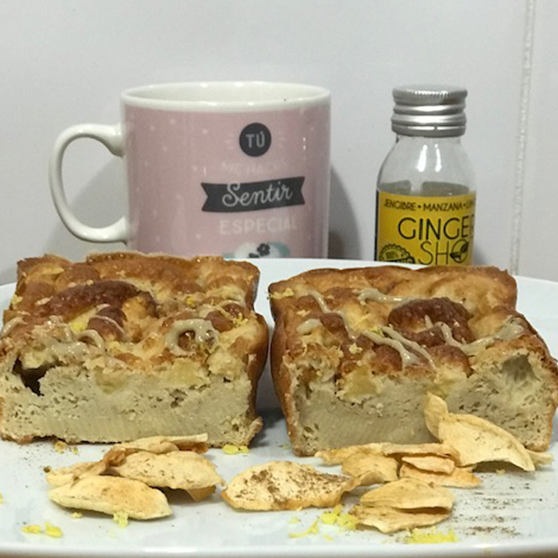 Receta de Bizcocho saludable de jengibre, manzana y limón