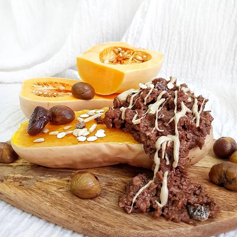 Receta de Porridge al cacao de calabaza, castañas y crema de anacardos