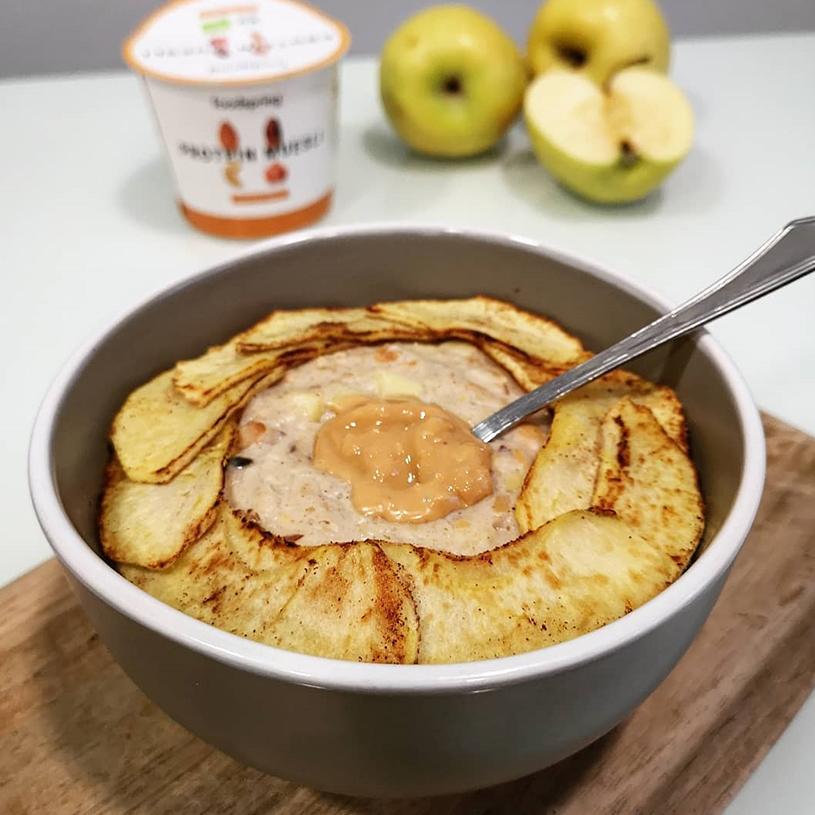 Receta de Porridge de manzana con muesli proteico