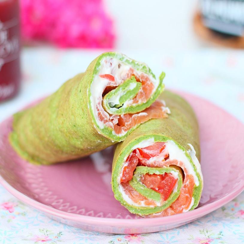 Receta de Wrap de espinacas y salmón ahumado